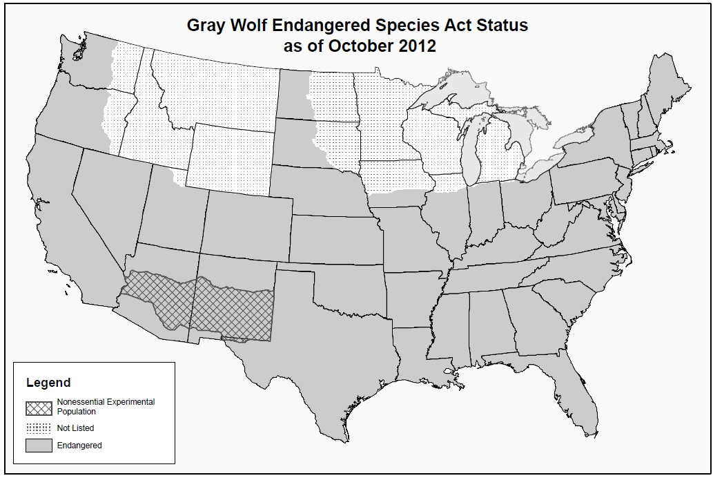 May Thomas Newsome - Maps of the location of wolves in the us